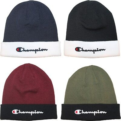 Champion Script Logo Two Tone Beanie Skull Skully Cap Hat One Size Fits Most