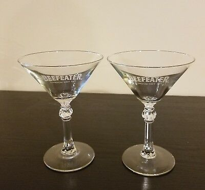 Set of 2 BEEFEATER London Dry Gin Martini Cocktail Glasses