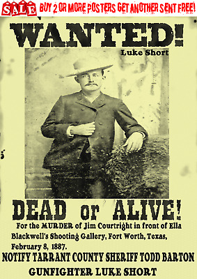 Old West Wanted Poster Outlaw Reward Western Luke Short Sheriff Bank Rob