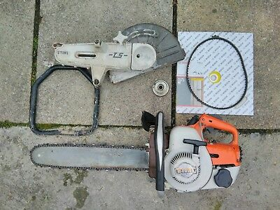 Stihl 08s chainsaw with TS disc cutter attachment. Starts and runs.