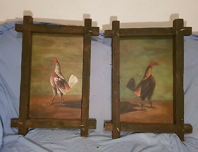 Pair Early to Mid 19th Century Fighting Cock Painting on Board Original Frames