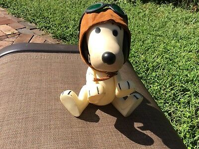 Snoopy Red Baron Figurine, Aviator Flying Ace, Pilot, Peanuts, Charles Schulz