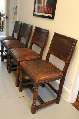 4 Edwardian dining chairs Oak leather