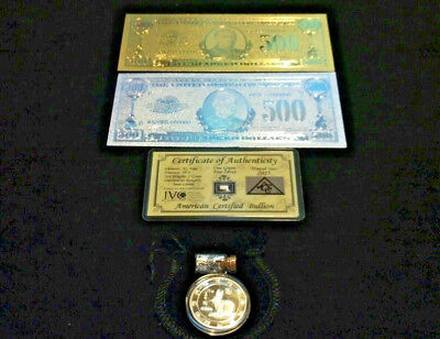 5☆Pc.LOT~2 U.S $500☆BANKNOTE☆REPS.*(1 GOLD& 1 SILVER+TINY SILVER BAR+COIN/FLAKE☆
