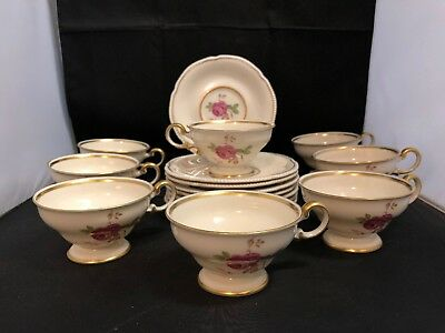 Castleton China Dolly Madison Demitasse Tea Cup and Saucer Set Of 8
