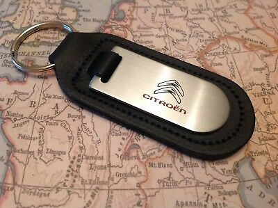 Citroen  Black Leather Key Ring Fob Etched And Infilled
