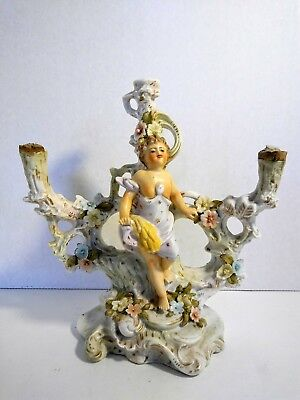 Meissen Antique Porcelain Candelabra with Figure and Flowers