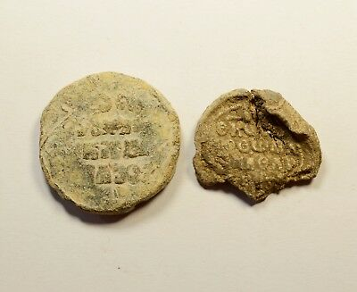 Ancient Byzantine Period Lead Seal - Lot Of 2 / Big Size