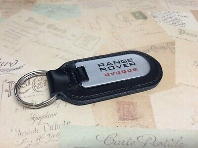 Range Rover Black Leather Key Ring Fob Etched And Infilled