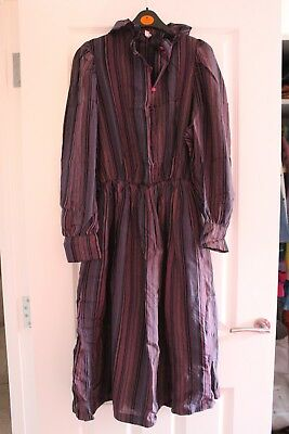 Vintage 80's Purple Pink Striped Midi Shirt Dress High Ruffle Neckline Size 10