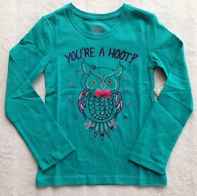 "New With Tags Girls Long Sleeve ""you're A Hoot"" Faded Glory Shirt Size Xl 14-16"