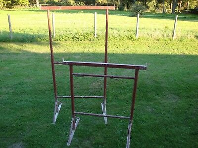 """2 x No 3 Adjustable Builders Trestles / Bandstands 3'6"""" closed x 5'6"""" fully exte"""