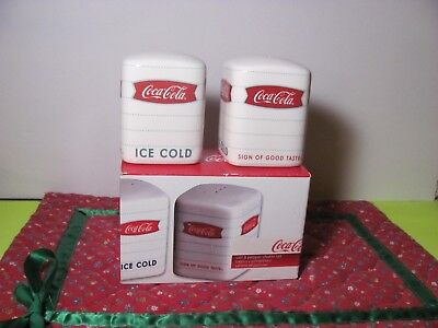 Official Licensed Coca-Cola Salt And Pepper Shakers Stoneware 2008 Gibson Nib