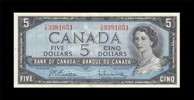 1954 BANK OF CANADA QEII $5 **Sig. Rasminsky** ~Consecutive 1 of 2~ (( aUNC ))