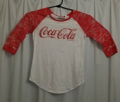 Coca-Cola Women's T-Shirt Jersey Small S White & Red (Orange) Letters on Front
