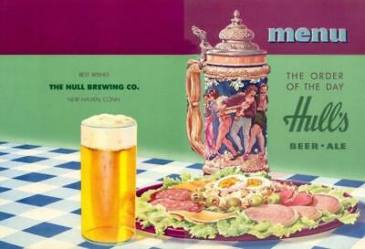 New Haven, CT - Hull's Beer & Ale Menu Sheet Cover #1 - 1940s era NOS