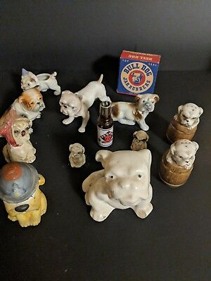 Vintage 13 unique ENGLISH BULLDOG DOG DOGS Lot collectibles FIGURINES
