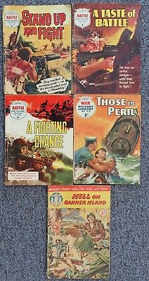 Selection of 5 Fleetway library comics - second world war