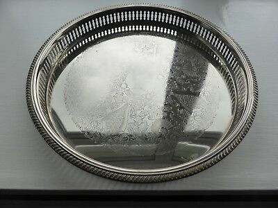 """12.5"""" vintage round silver plated drinks chased gallery serving tray cocktail"""