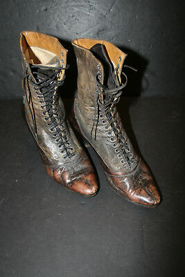 Antique Victorian Utz & Dunn Leather High Heel Lace Up Boots Steampunk Gothic