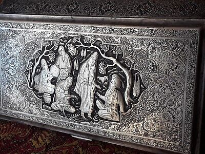 Exceptional Antique Silver Isfahan Persian Vanity Cigarette Box By Master Lahiji