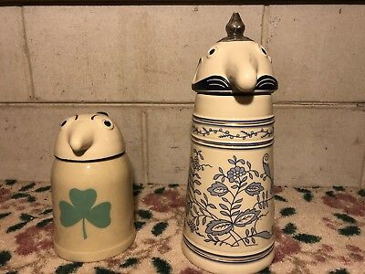 Webco Utica Club Schultz and Dooley Stein Set Ceramic Made in Germany