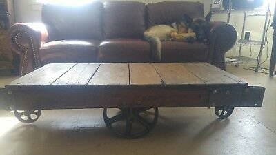 Antique Industrial Cart Coffee Table 535 00 Picclick