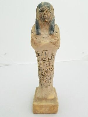 ANCIENT ANTIQUE EGYPTIAN Wood USHABTI Polychrome (SHABTI)RARE EGYPT BC