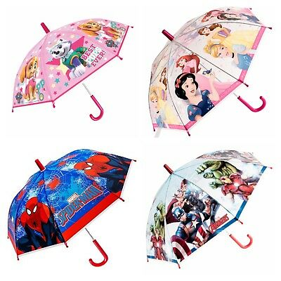 Kids Girls Boys Umbrella Disney Paw Paw Patrol Spiderman New Genuine HQ