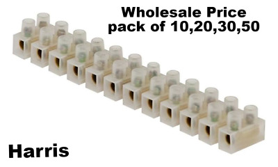 12 WAY CONNECTOR STRIP  ELECTRICAL CHOC Block Terminal Connection Wire 3-60 AMP