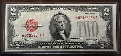 Rare Red Seal 1928 D  Star Note $2 Two Dollar Bill 2