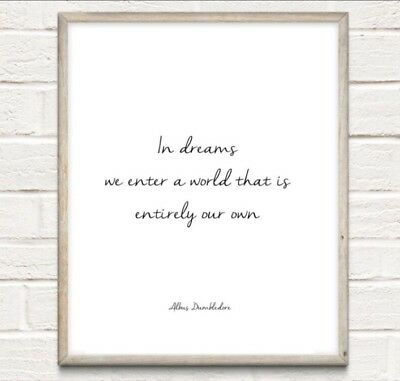 A4 Harry Potter Quote Dreams Dumbledore Love Typography Print Gift Home UNFRAMED