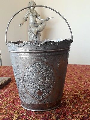X- Large Antique Solid Silver Persian Iran Handled Ice Bucket Or Wine Bucket