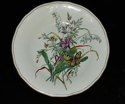 W T Copeland Daisy  & Butterfly Footed Fruit Bowl Ca 1880