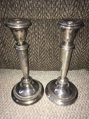 Antique Pair Of Poole Silver Co. George II 44 Silver Plated Candle Sticks