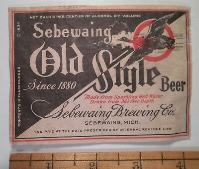 #28 1930's MI Beer Bottle Label, Sebewaing Brewing Co. Old Style Beer, Mich.