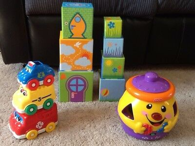 Baby Toddler Cookie Jar Shape Sorter, Stacking Cars & Stacking Boxes Toy Bundle