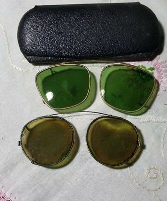 Antique  Wire Rimmed clip on sunglasses & Case Old  Sun glasses two pair