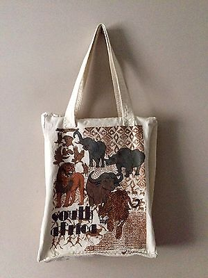 South Africa Animal Zip Fasten Vintage Thick Canvas Book Tote Shopping Bag