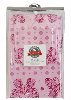 Living Textiles Butterfly 2Pc Cot Fitted Sheet & Pillowcase Set. Brand New.