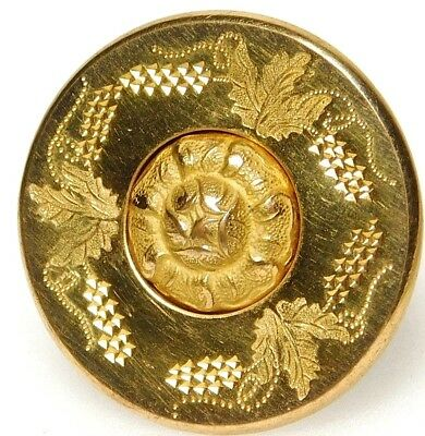 Antique GOLDEN AGE Brass Button OME Rose with INCISED Leaves WATERBURY BKMK #G