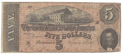 CSA $5.00 Note T69 1864