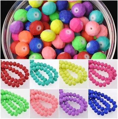 Wholesale 4/6/8/10mm Rondelle Faceted Rubber-Like Coated Glass Loose Beads Lots