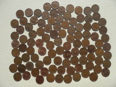 Lot of 100 Half Penny Coins of England - Modern