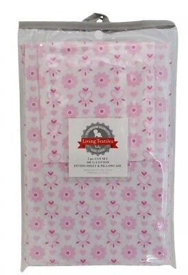 Living Textiles Hearts 2Pc Cot Fitted Sheet & Pillowcase Set. Brand New.