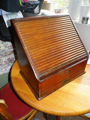 Victorian Mahogany Desk Top Stationery Box - Rolltop - Tambour Front