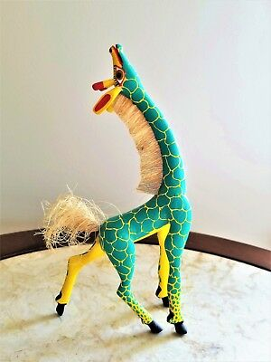 Hand Painted Unique Oaxacan Wood Giraffe, Mexico  Signed Francisco Melchor
