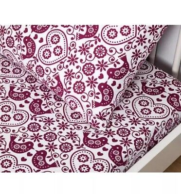 Living Textiles Birds 2Pc Cot Fitted Sheet & Pillowcase Set. Brand New.