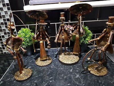 COLLECTION OF 4 Vintage Brass & Copper Art  Figures, AMAZING ART WORK SEE PHOTOS
