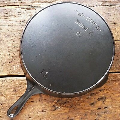 Antique WAGNER Cast Iron SKILLET Frying Pan # 11 Heat Ring SIDNEY O - Ironspoon